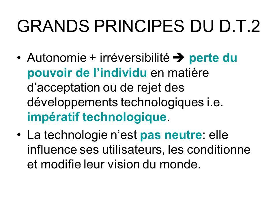 GRANDS PRINCIPES DU D.T.2 Autonomie + irréversibilité perte du pouvoir de lindividu en matière dacceptation ou de rejet des développements technologiques i.e.