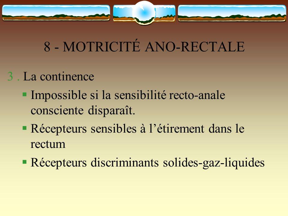 8 - MOTRICITÉ ANO-RECTALE 3. La continence Impossible si la sensibilité recto-anale consciente disparaît. Récepteurs sensibles à létirement dans le re