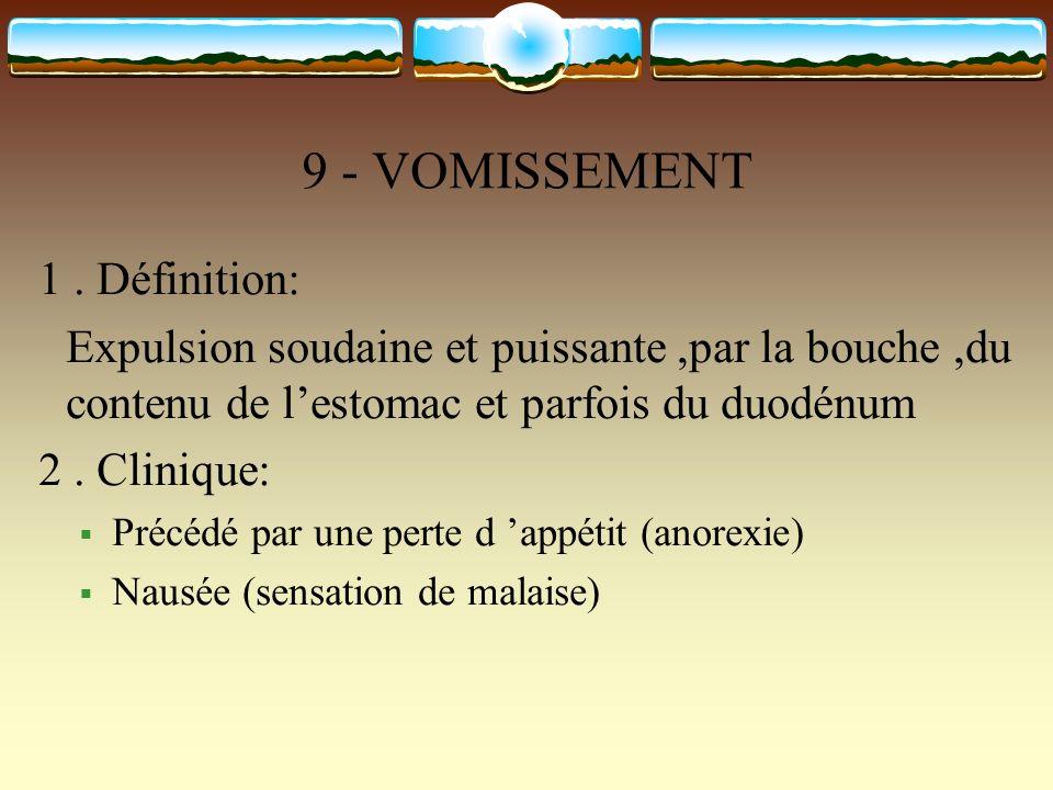 9 - VOMISSEMENT 1. Définition: Expulsion soudaine et puissante,par la bouche,du contenu de lestomac et parfois du duodénum 2. Clinique: Précédé par un