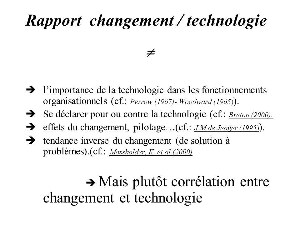 Rapport changement / technologie limportance de la technologie dans les fonctionnements organisationnels (cf.: Perrow (1967)- Woodward (1965) ). Se dé