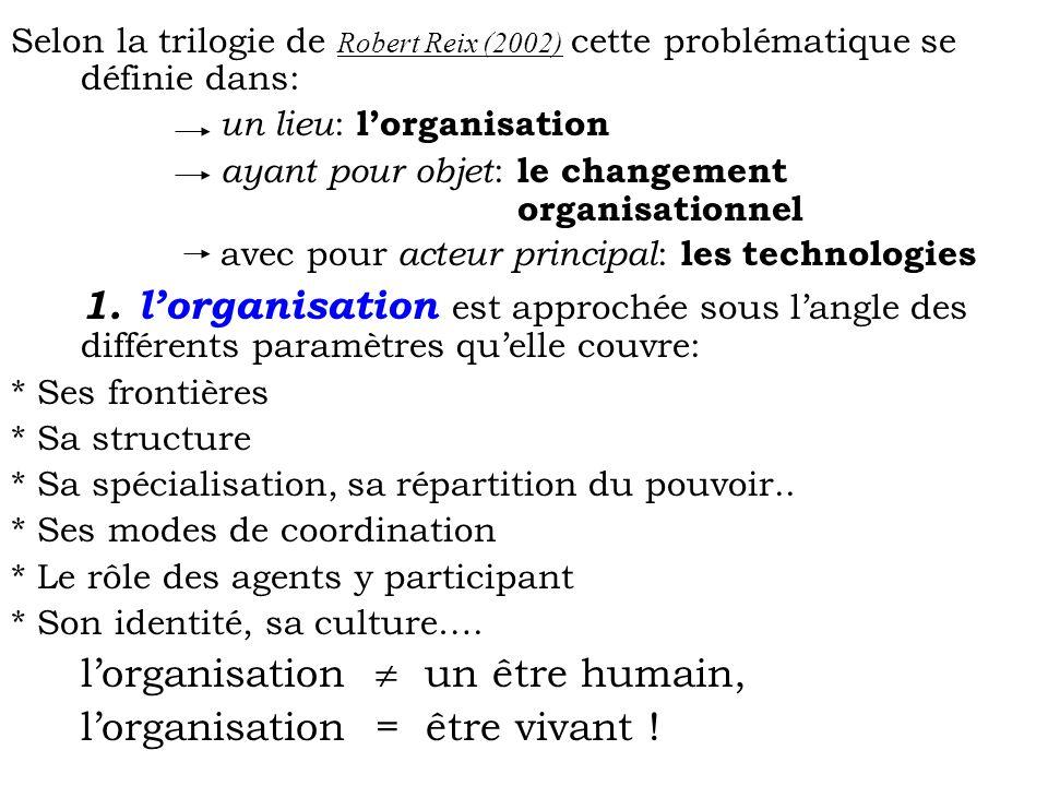 Selon la trilogie de Robert Reix (2002) cette problématique se définie dans: un lieu : lorganisation ayant pour objet : le changement organisationnel