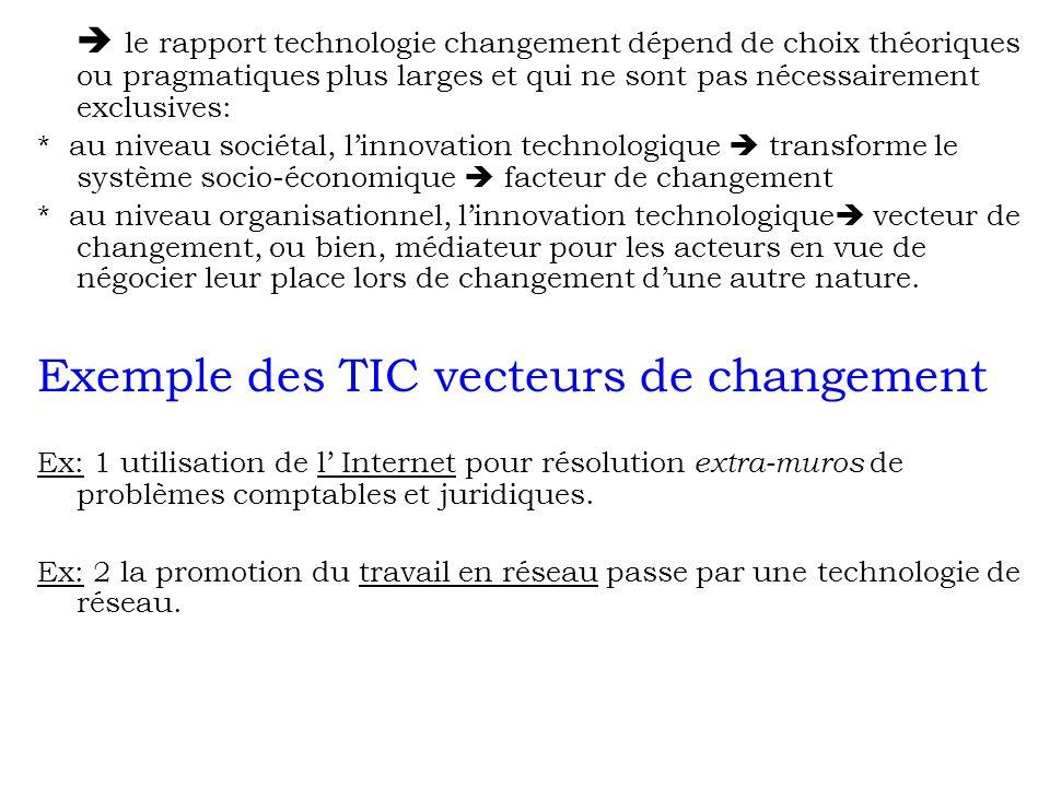 le rapport technologie changement dépend de choix théoriques ou pragmatiques plus larges et qui ne sont pas nécessairement exclusives: * au niveau soc