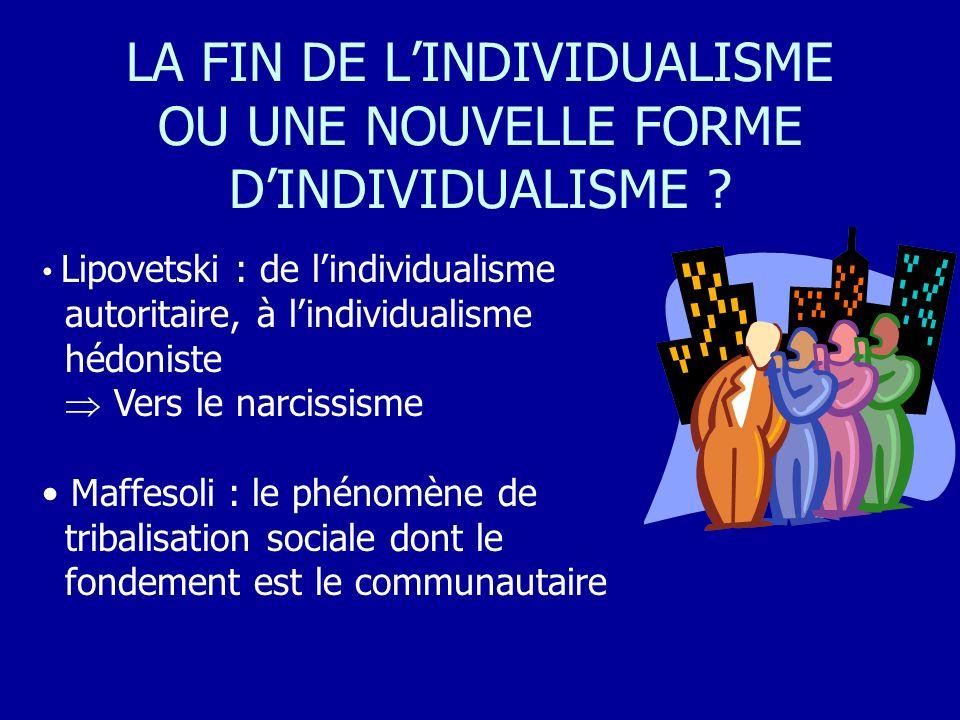 LA FIN DE LINDIVIDUALISME OU UNE NOUVELLE FORME DINDIVIDUALISME ? Lipovetski : de lindividualisme autoritaire, à lindividualisme hédoniste Vers le nar