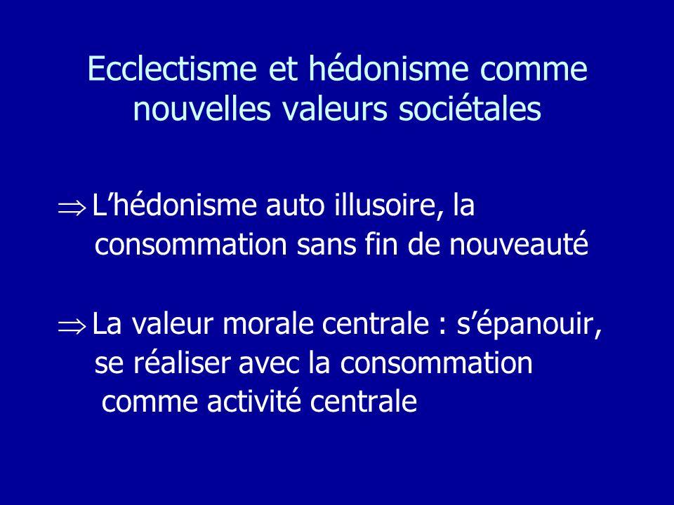 Ecclectisme et hédonisme comme nouvelles valeurs sociétales Lhédonisme auto illusoire, la consommation sans fin de nouveauté La valeur morale centrale