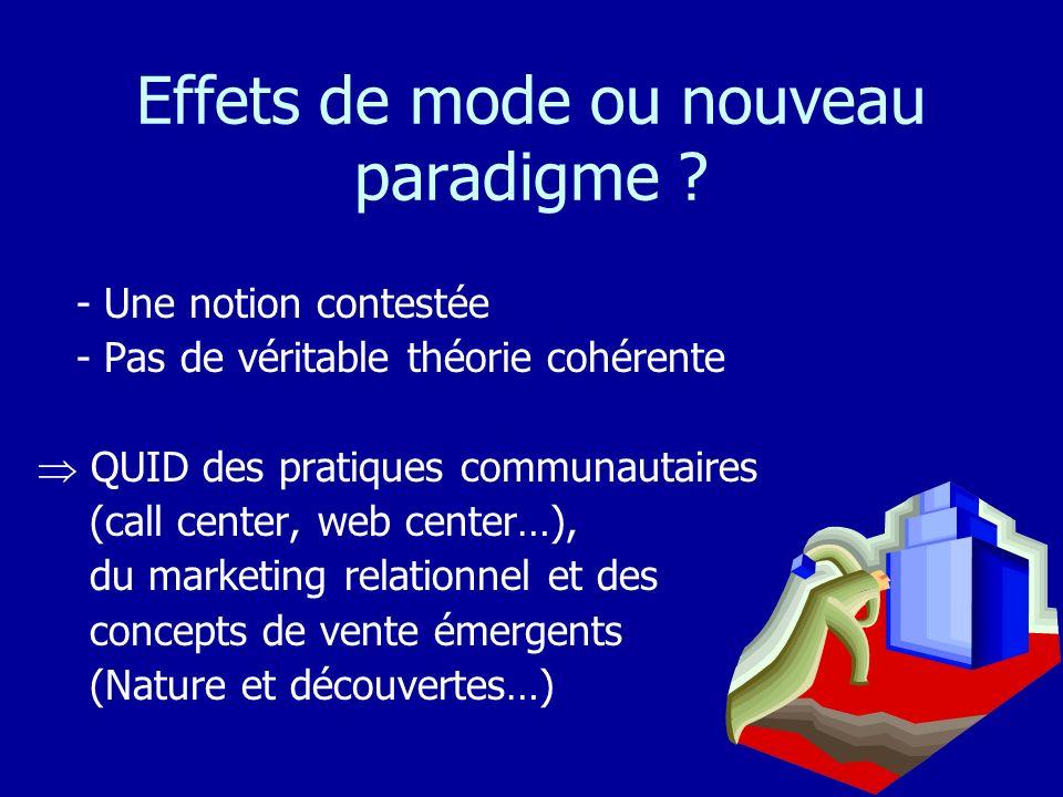 Effets de mode ou nouveau paradigme ? - Une notion contestée - Pas de véritable théorie cohérente QUID des pratiques communautaires (call center, web