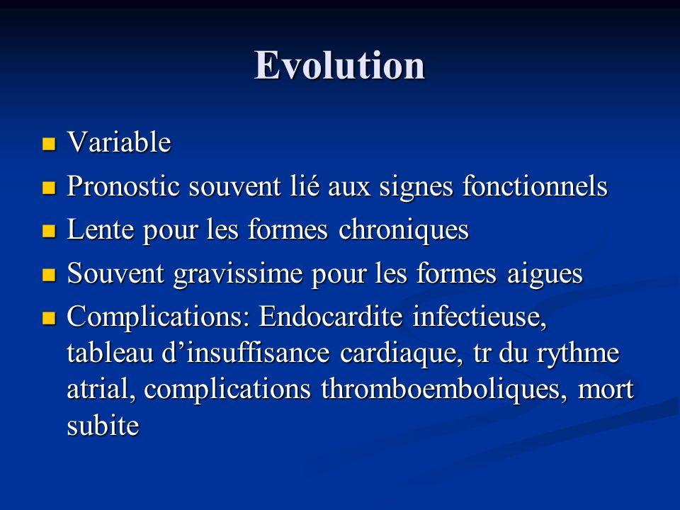 Evolution Variable Variable Pronostic souvent lié aux signes fonctionnels Pronostic souvent lié aux signes fonctionnels Lente pour les formes chroniqu