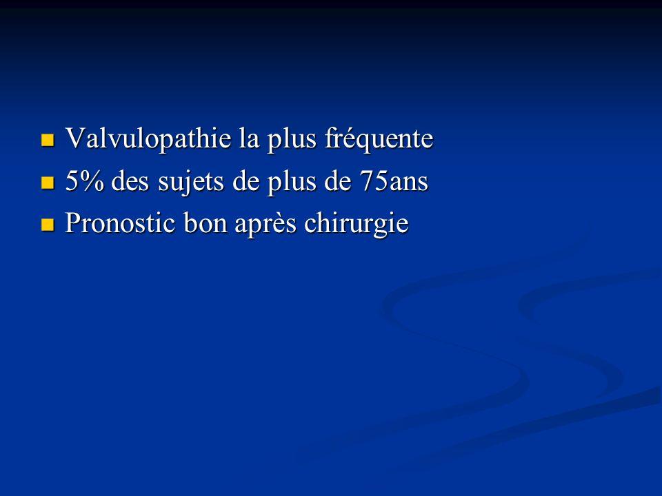 Valvulopathie la plus fréquente Valvulopathie la plus fréquente 5% des sujets de plus de 75ans 5% des sujets de plus de 75ans Pronostic bon après chir