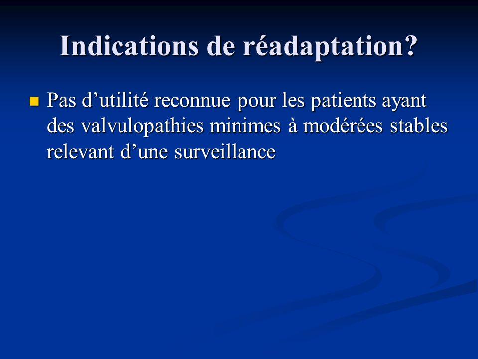 Indications de réadaptation? Pas dutilité reconnue pour les patients ayant des valvulopathies minimes à modérées stables relevant dune surveillance Pa