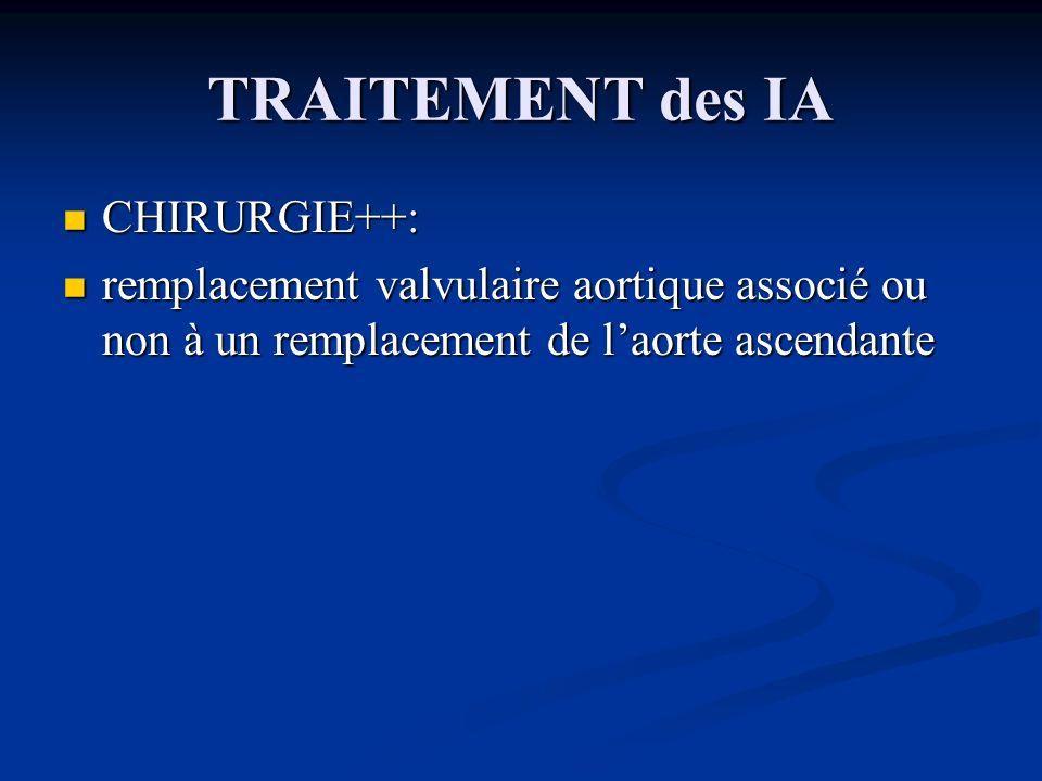 TRAITEMENT des IA CHIRURGIE++: CHIRURGIE++: remplacement valvulaire aortique associé ou non à un remplacement de laorte ascendante remplacement valvul