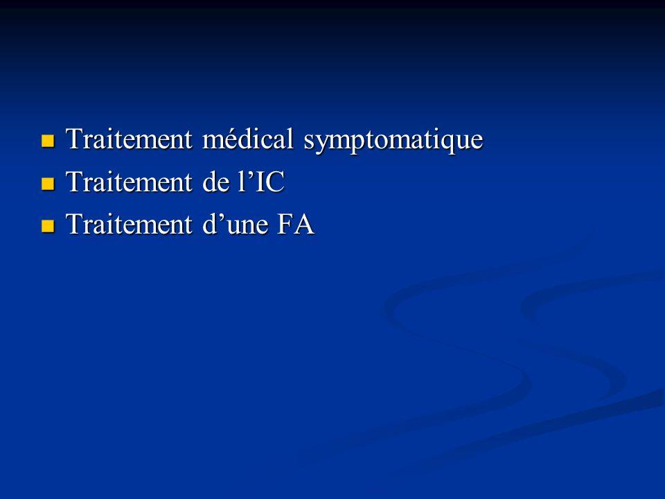 Traitement médical symptomatique Traitement médical symptomatique Traitement de lIC Traitement de lIC Traitement dune FA Traitement dune FA