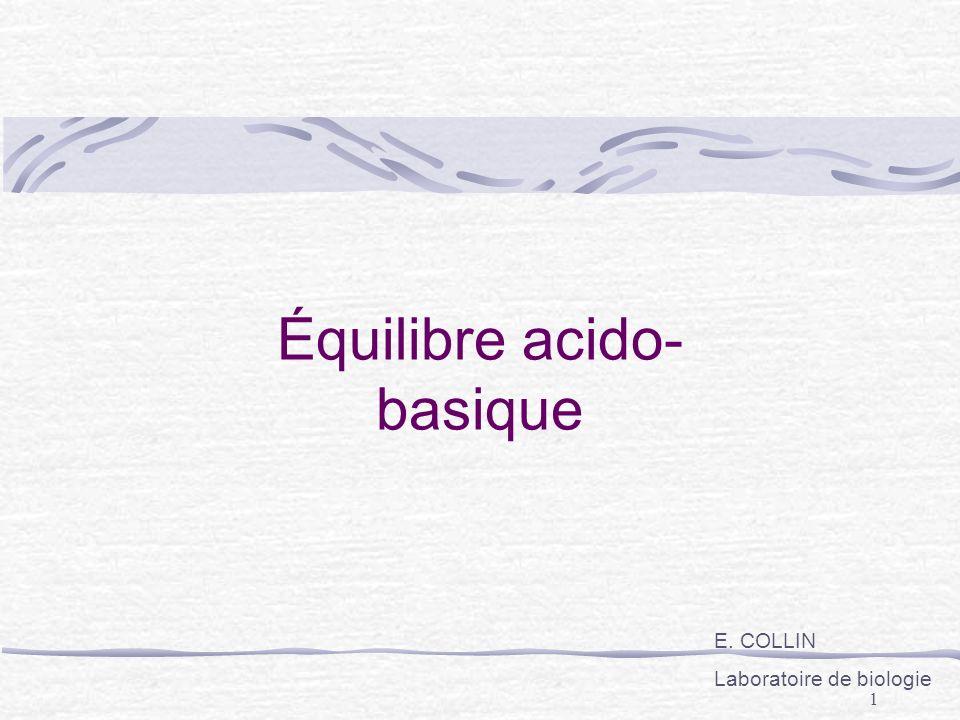 1 Équilibre acido- basique E. COLLIN Laboratoire de biologie