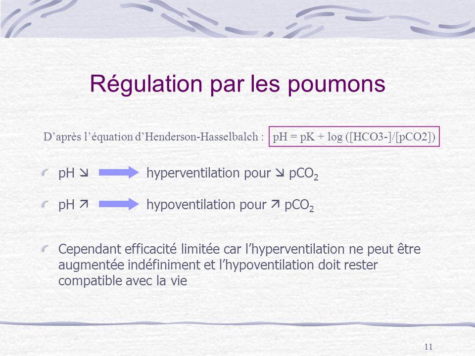 11 Régulation par les poumons pH hyperventilation pour pCO 2 pH hypoventilation pour pCO 2 Cependant efficacité limitée car lhyperventilation ne peut