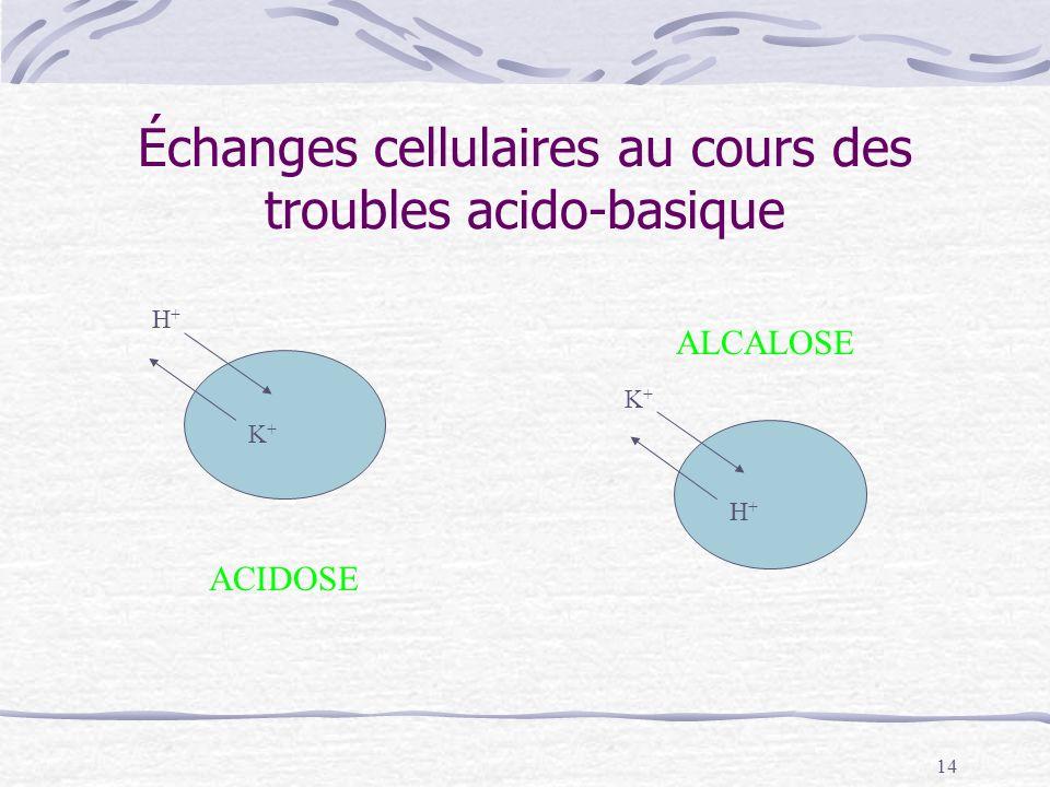 14 Échanges cellulaires au cours des troubles acido-basique ACIDOSE ALCALOSE H+H+ H+H+ K+K+ K+K+