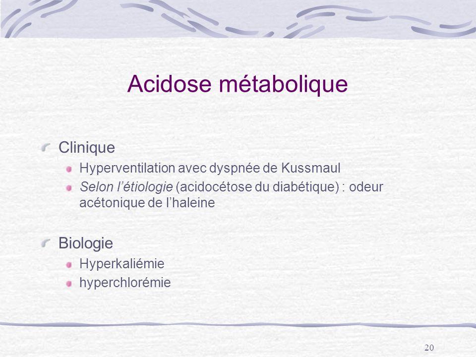 20 Acidose métabolique Clinique Hyperventilation avec dyspnée de Kussmaul Selon létiologie (acidocétose du diabétique) : odeur acétonique de lhaleine