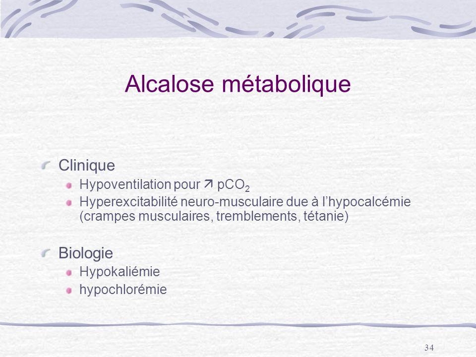 34 Alcalose métabolique Clinique Hypoventilation pour pCO 2 Hyperexcitabilité neuro-musculaire due à lhypocalcémie (crampes musculaires, tremblements,