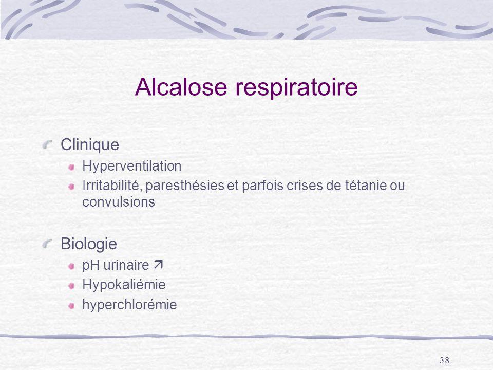 38 Alcalose respiratoire Clinique Hyperventilation Irritabilité, paresthésies et parfois crises de tétanie ou convulsions Biologie pH urinaire Hypokal