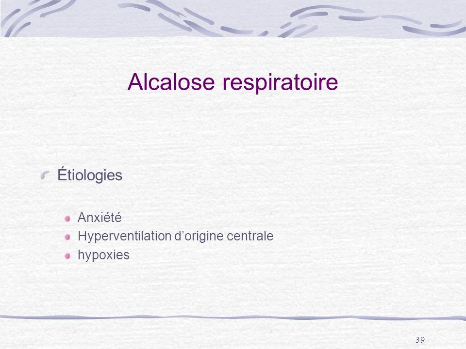 39 Alcalose respiratoire Étiologies Anxiété Hyperventilation dorigine centrale hypoxies
