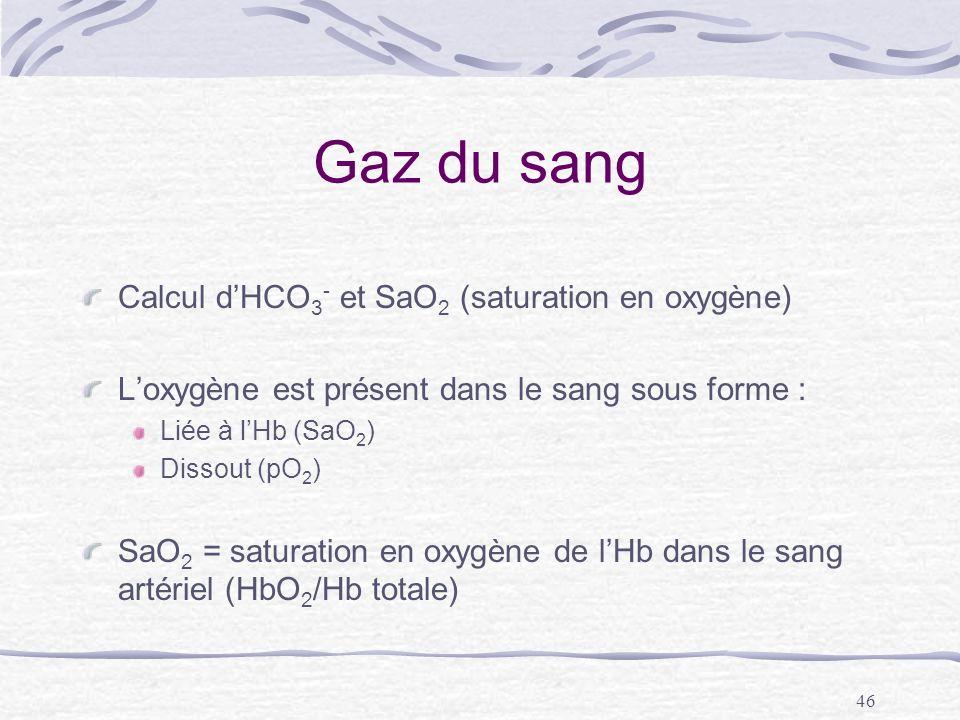 46 Gaz du sang Calcul dHCO 3 - et SaO 2 (saturation en oxygène) Loxygène est présent dans le sang sous forme : Liée à lHb (SaO 2 ) Dissout (pO 2 ) SaO