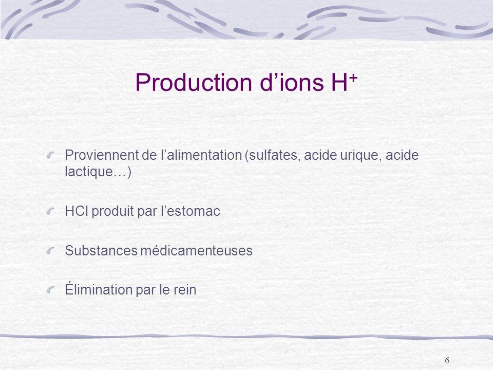 6 Production dions H + Proviennent de lalimentation (sulfates, acide urique, acide lactique…) HCl produit par lestomac Substances médicamenteuses Élim