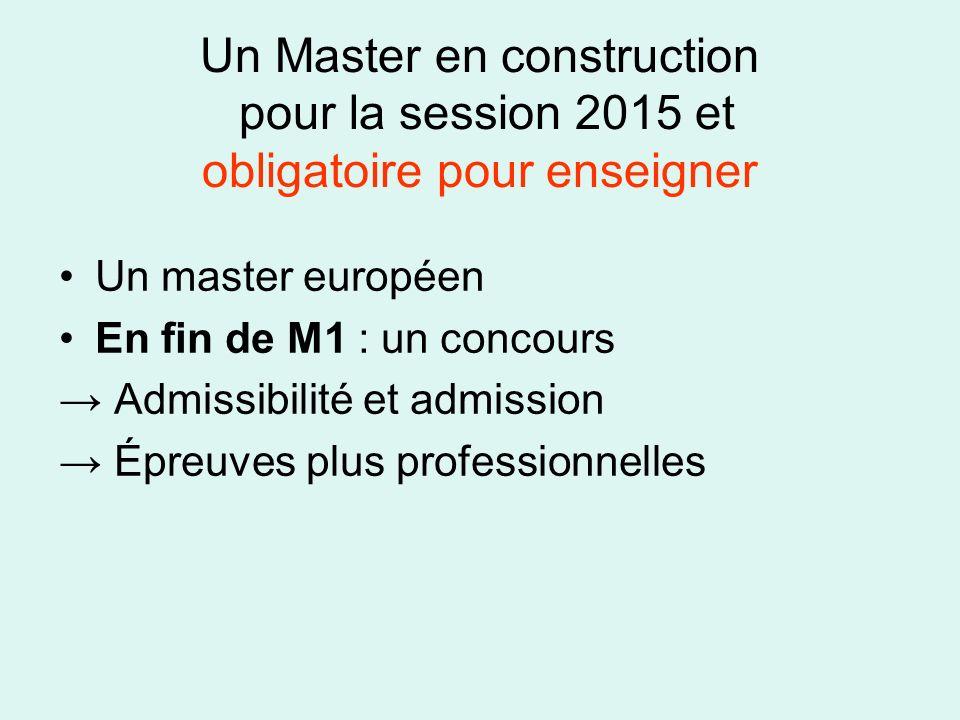 Un Master en construction pour la session 2015 et obligatoire pour enseigner Un master européen En fin de M1 : un concours Admissibilité et admission