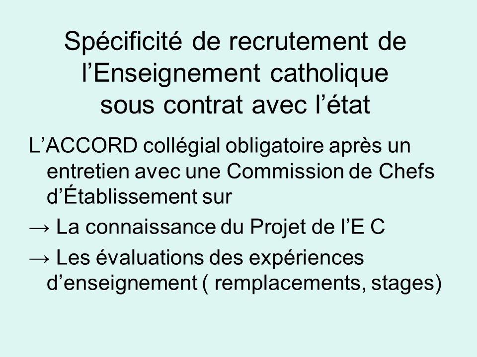 Spécificité de recrutement de lEnseignement catholique sous contrat avec létat LACCORD collégial obligatoire après un entretien avec une Commission de