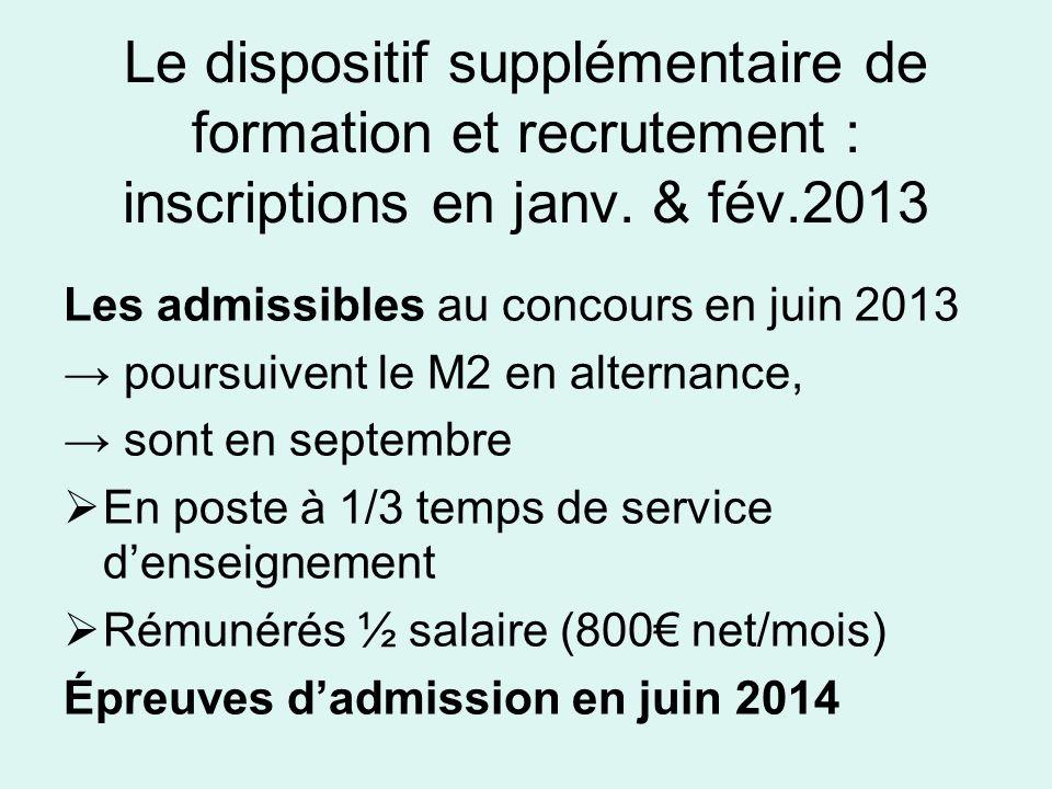 Le dispositif supplémentaire de formation et recrutement : inscriptions en janv. & fév.2013 Les admissibles au concours en juin 2013 poursuivent le M2