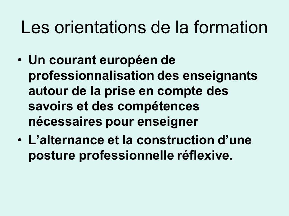 Les orientations de la formation Un courant européen de professionnalisation des enseignants autour de la prise en compte des savoirs et des compétenc