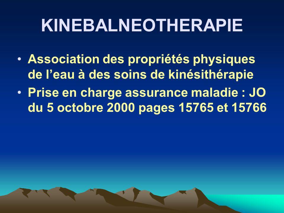 KINEBALNEOTHERAPIE Association des propriétés physiques de leau à des soins de kinésithérapie Prise en charge assurance maladie : JO du 5 octobre 2000