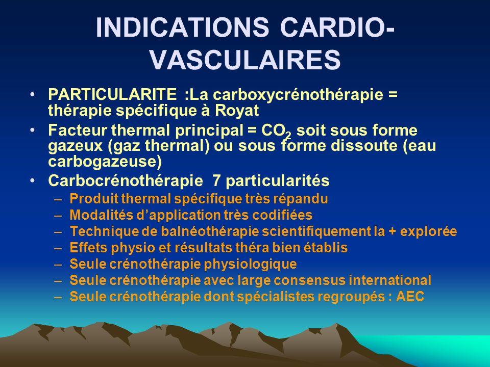 INDICATIONS CARDIO- VASCULAIRES PARTICULARITE :La carboxycrénothérapie = thérapie spécifique à Royat Facteur thermal principal = CO 2 soit sous forme