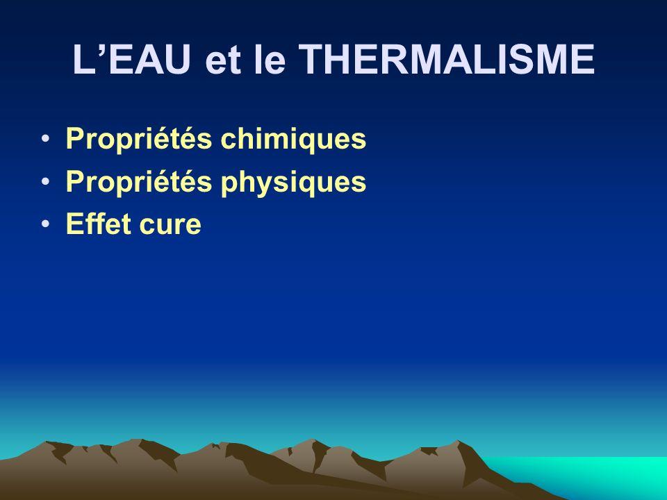 LEAU et le THERMALISME Propriétés chimiques Propriétés physiques Effet cure