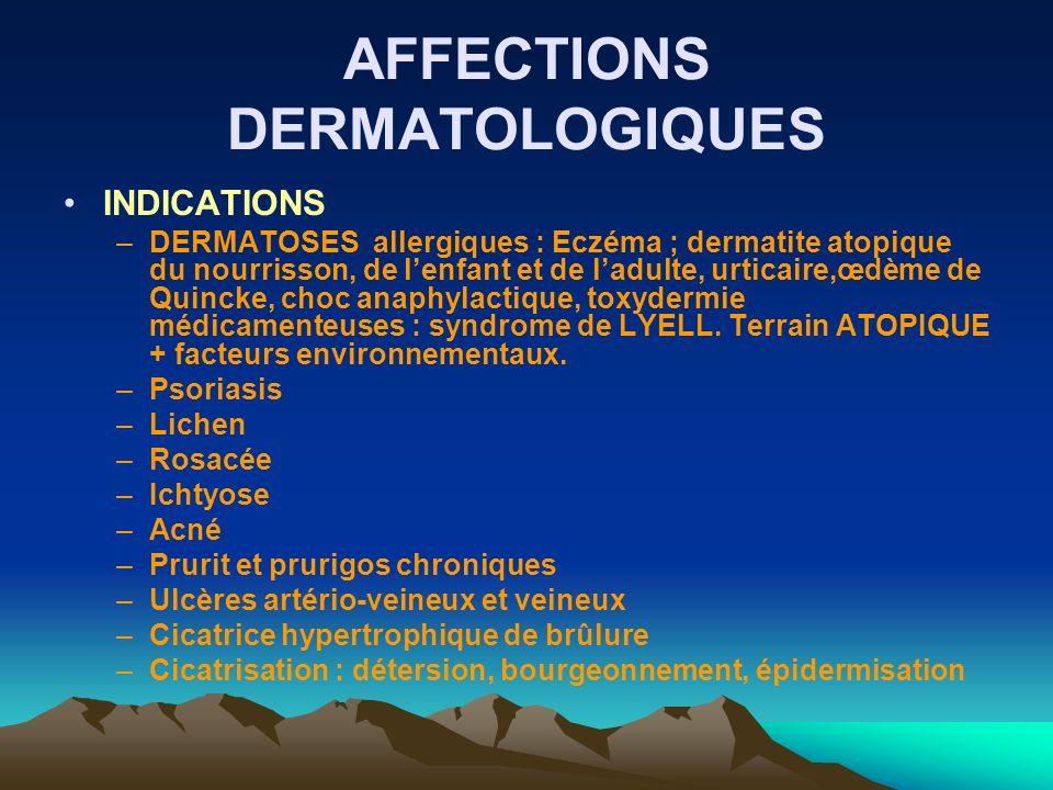 AFFECTIONS DERMATOLOGIQUES INDICATIONS –DERMATOSES allergiques : Eczéma ; dermatite atopique du nourrisson, de lenfant et de ladulte, urticaire,œdème