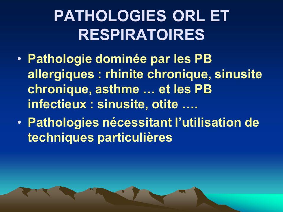 PATHOLOGIES ORL ET RESPIRATOIRES Pathologie dominée par les PB allergiques : rhinite chronique, sinusite chronique, asthme … et les PB infectieux : si