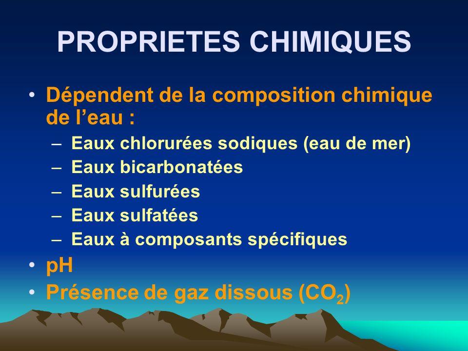 PROPRIETES CHIMIQUES Dépendent de la composition chimique de leau : – Eaux chlorurées sodiques (eau de mer) – Eaux bicarbonatées – Eaux sulfurées – Ea