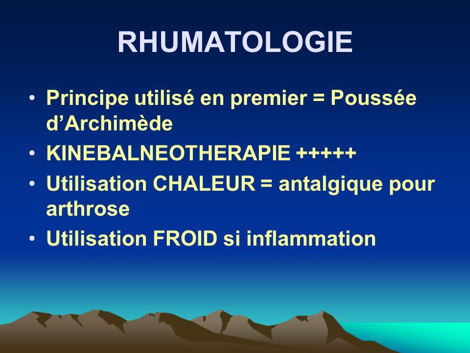 RHUMATOLOGIE Principe utilisé en premier = Poussée dArchimède KINEBALNEOTHERAPIE +++++ Utilisation CHALEUR = antalgique pour arthrose Utilisation FROI