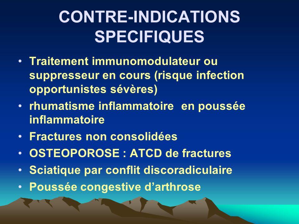 CONTRE-INDICATIONS SPECIFIQUES Traitement immunomodulateur ou suppresseur en cours (risque infection opportunistes sévères) rhumatisme inflammatoire e