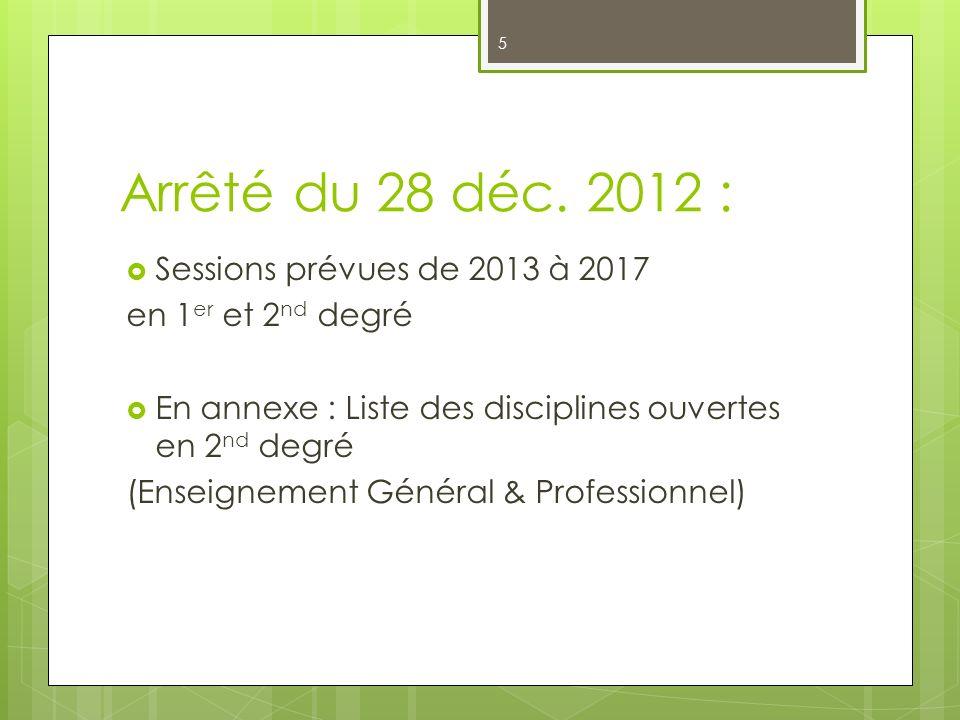 5 Arrêté du 28 déc. 2012 : Sessions prévues de 2013 à 2017 en 1 er et 2 nd degré En annexe : Liste des disciplines ouvertes en 2 nd degré (Enseignemen