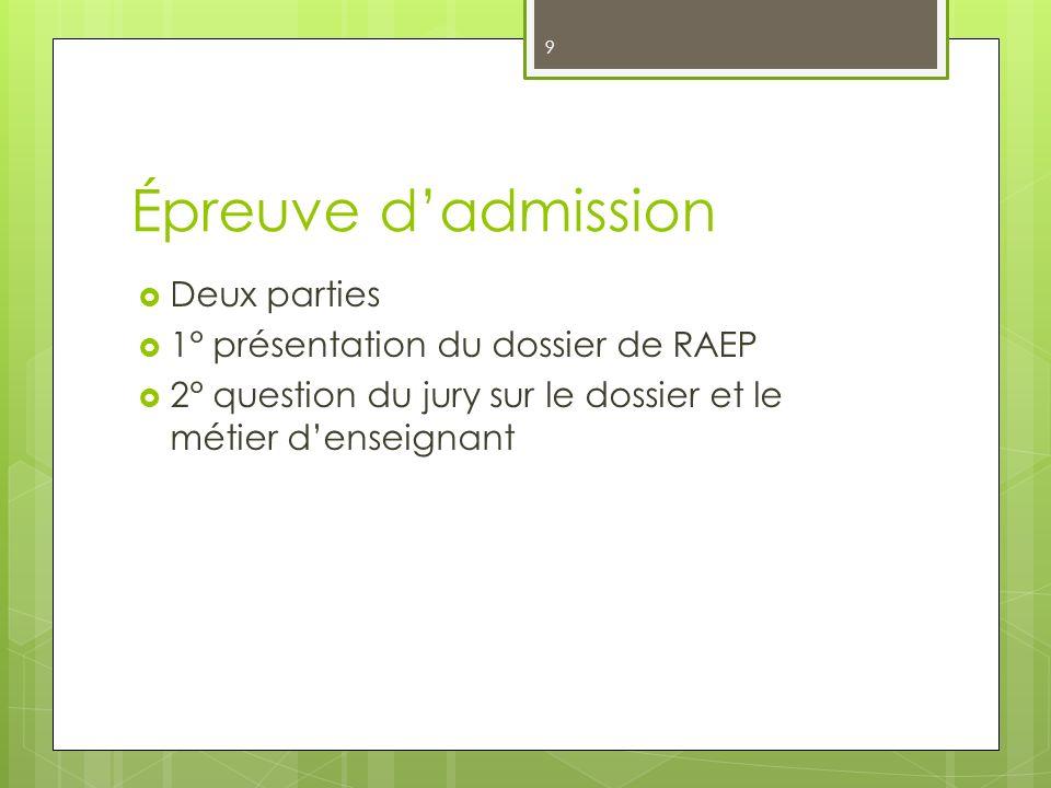 9 Épreuve dadmission Deux parties 1° présentation du dossier de RAEP 2° question du jury sur le dossier et le métier denseignant