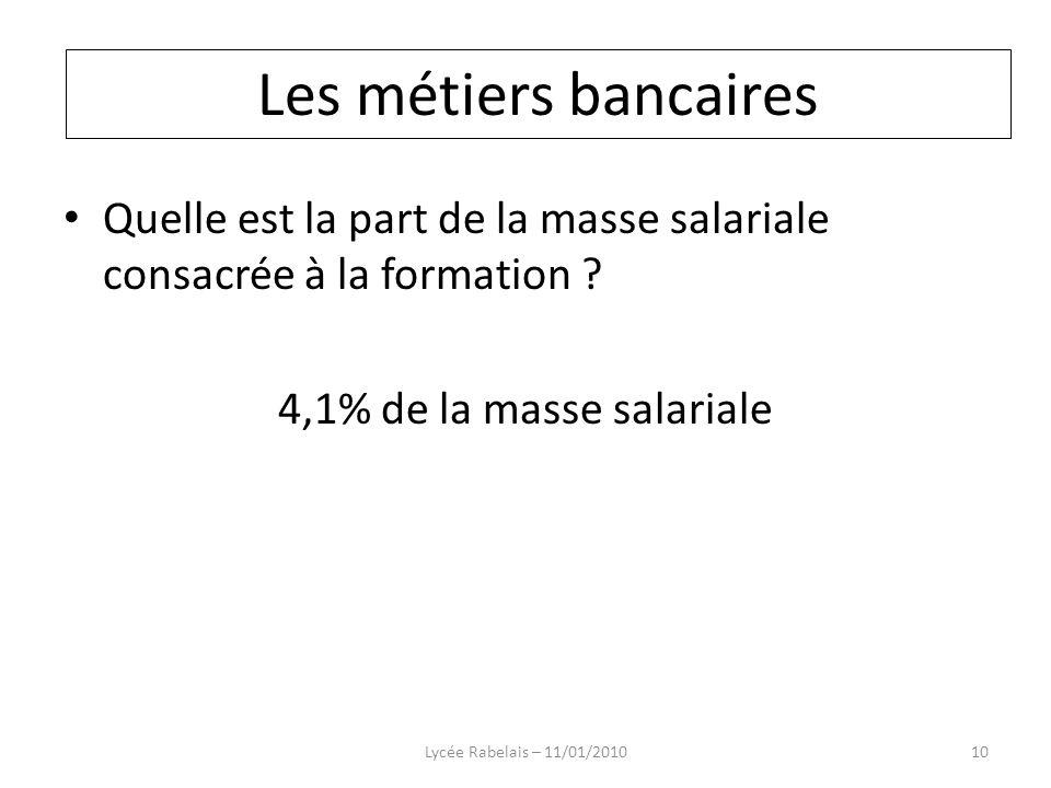 Quelle est la part de la masse salariale consacrée à la formation ? 4,1% de la masse salariale Lycée Rabelais – 11/01/201010 Les métiers bancaires