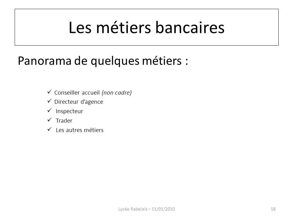 Panorama de quelques métiers : Conseiller accueil (non cadre) Directeur dagence Inspecteur Trader Les autres métiers Lycée Rabelais – 11/01/201018 Les