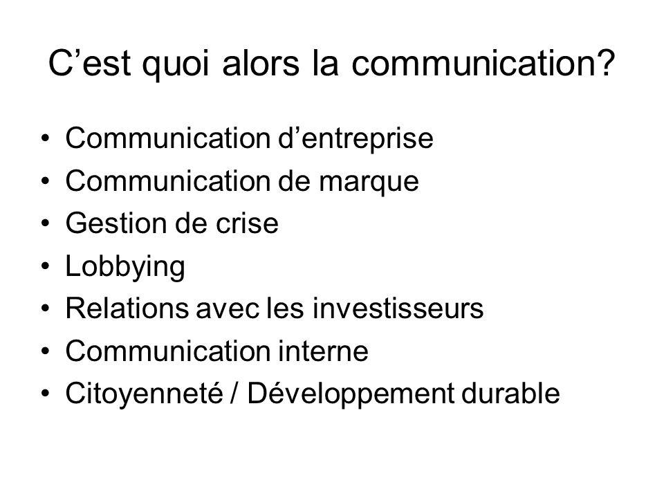 Cest quoi alors la communication? Communication dentreprise Communication de marque Gestion de crise Lobbying Relations avec les investisseurs Communi