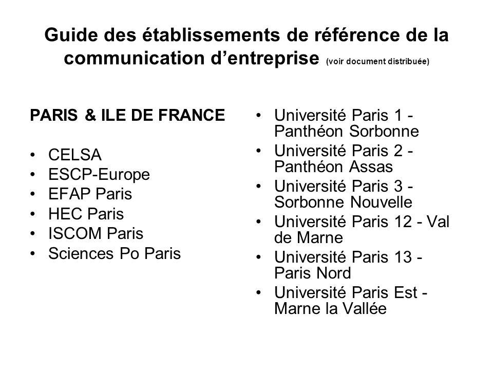 Guide des établissements de référence de la communication dentreprise (voir document distribuée) PARIS & ILE DE FRANCE CELSA ESCP-Europe EFAP Paris HE