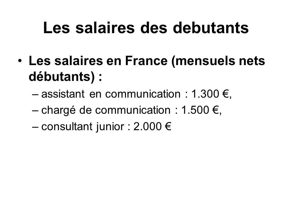 Les salaires des debutants Les salaires en France (mensuels nets débutants) : –assistant en communication : 1.300, –chargé de communication : 1.500, –