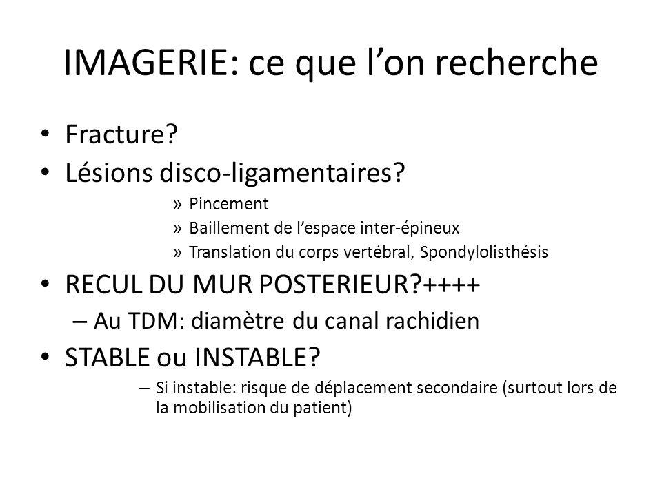 IMAGERIE: ce que lon recherche Fracture? Lésions disco-ligamentaires? » Pincement » Baillement de lespace inter-épineux » Translation du corps vertébr