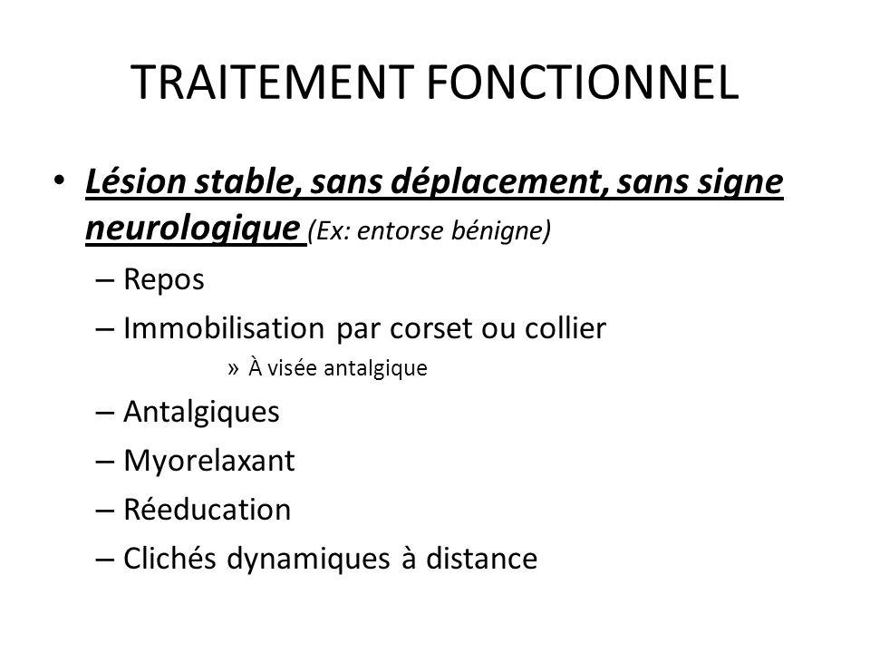 TRAITEMENT FONCTIONNEL Lésion stable, sans déplacement, sans signe neurologique (Ex: entorse bénigne) – Repos – Immobilisation par corset ou collier »