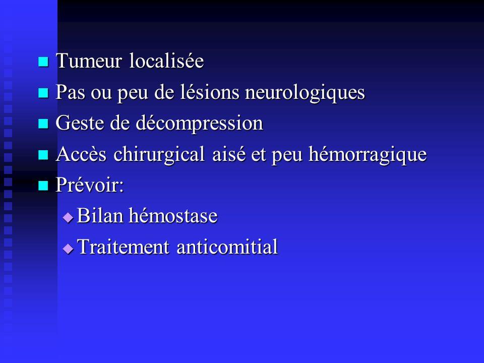 Tumeur localisée Tumeur localisée Pas ou peu de lésions neurologiques Pas ou peu de lésions neurologiques Geste de décompression Geste de décompressio