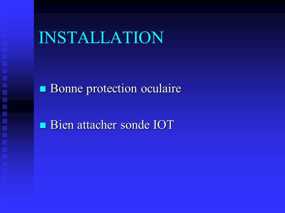 INSTALLATION Bonne protection oculaire Bonne protection oculaire Bien attacher sonde IOT Bien attacher sonde IOT