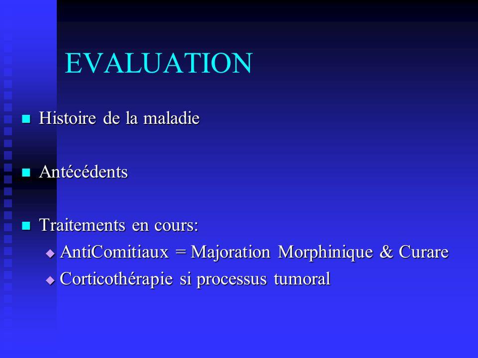 EVALUATION Histoire de la maladie Histoire de la maladie Antécédents Antécédents Traitements en cours: Traitements en cours: AntiComitiaux = Majoratio