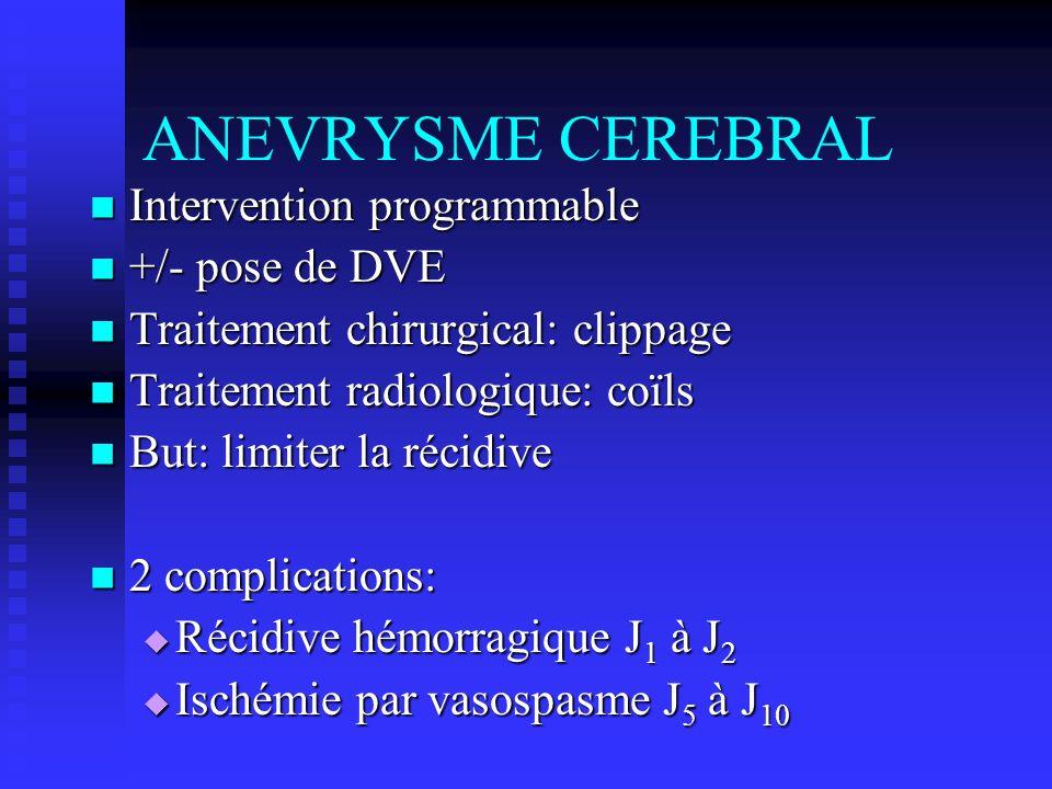 ANEVRYSME CEREBRAL Intervention programmable Intervention programmable +/- pose de DVE +/- pose de DVE Traitement chirurgical: clippage Traitement chi