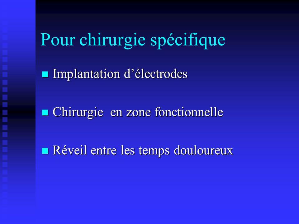 Pour chirurgie spécifique Implantation délectrodes Implantation délectrodes Chirurgie en zone fonctionnelle Chirurgie en zone fonctionnelle Réveil ent
