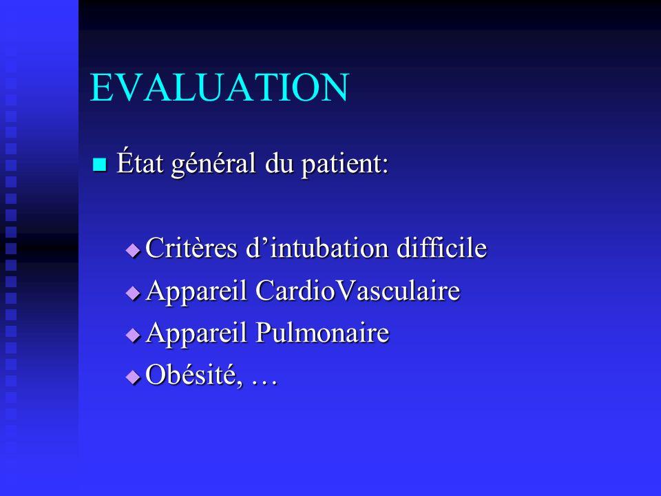 EVALUATION État général du patient: État général du patient: Critères dintubation difficile Critères dintubation difficile Appareil CardioVasculaire A